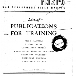 List of Publications for Training - 1945